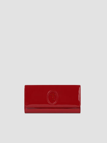 Patent leather continental purse