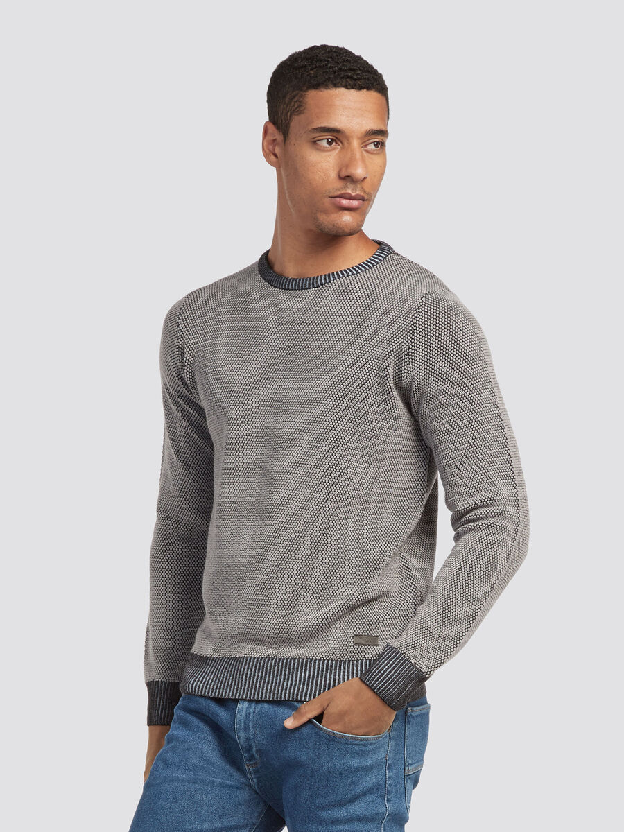 Pullover regular fit misto lana con costina rigata
