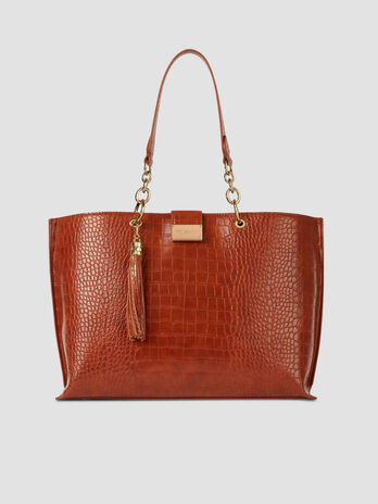 Large shopper in crocodile print faux leather