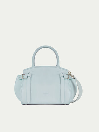 Medium solid colour leather Gita bag with buckle detail