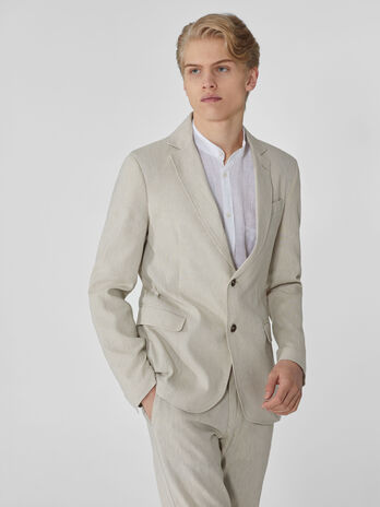 Regular-fit cotton and linen blazer