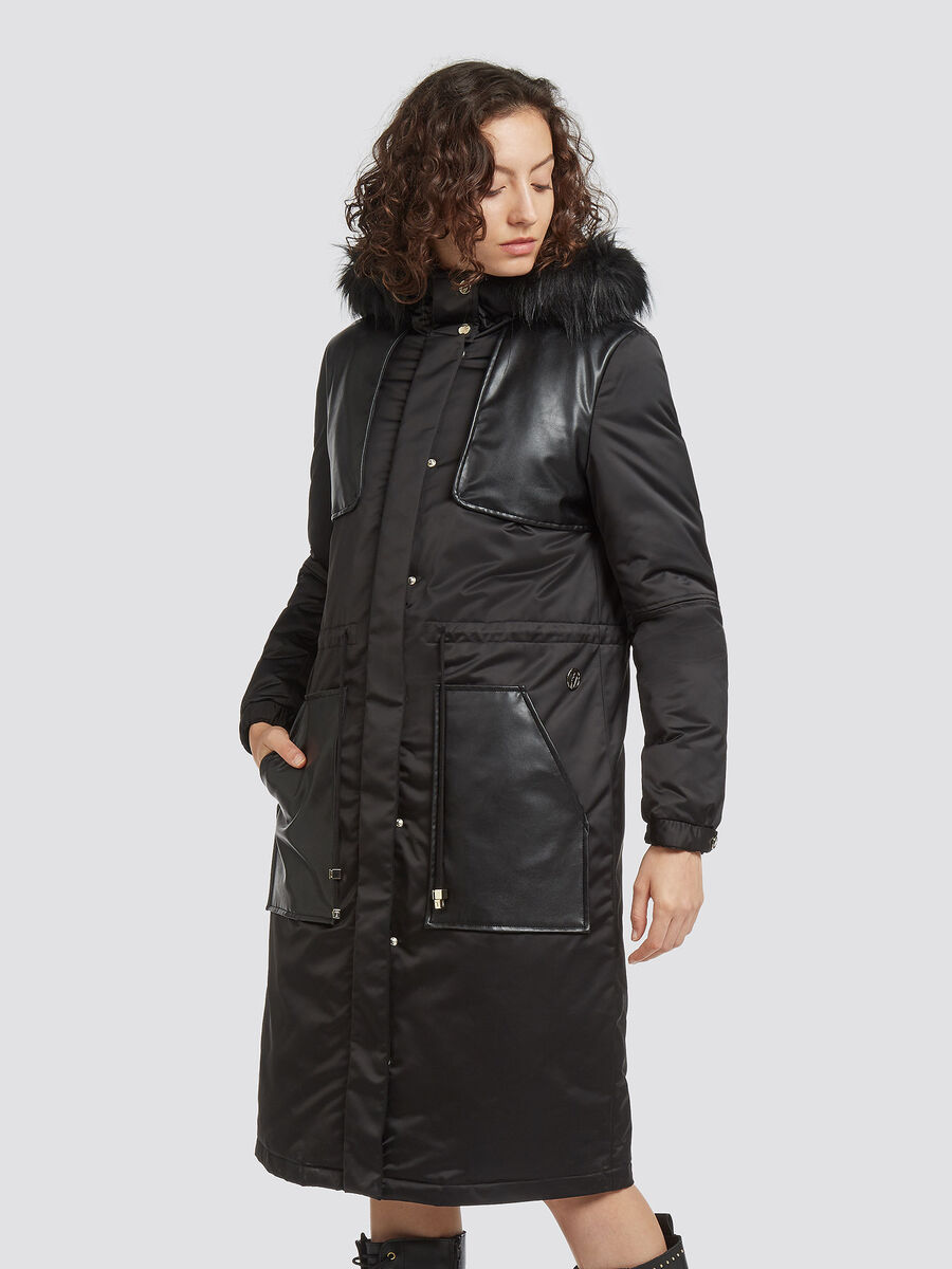 Oversized satin parka with faux leather details