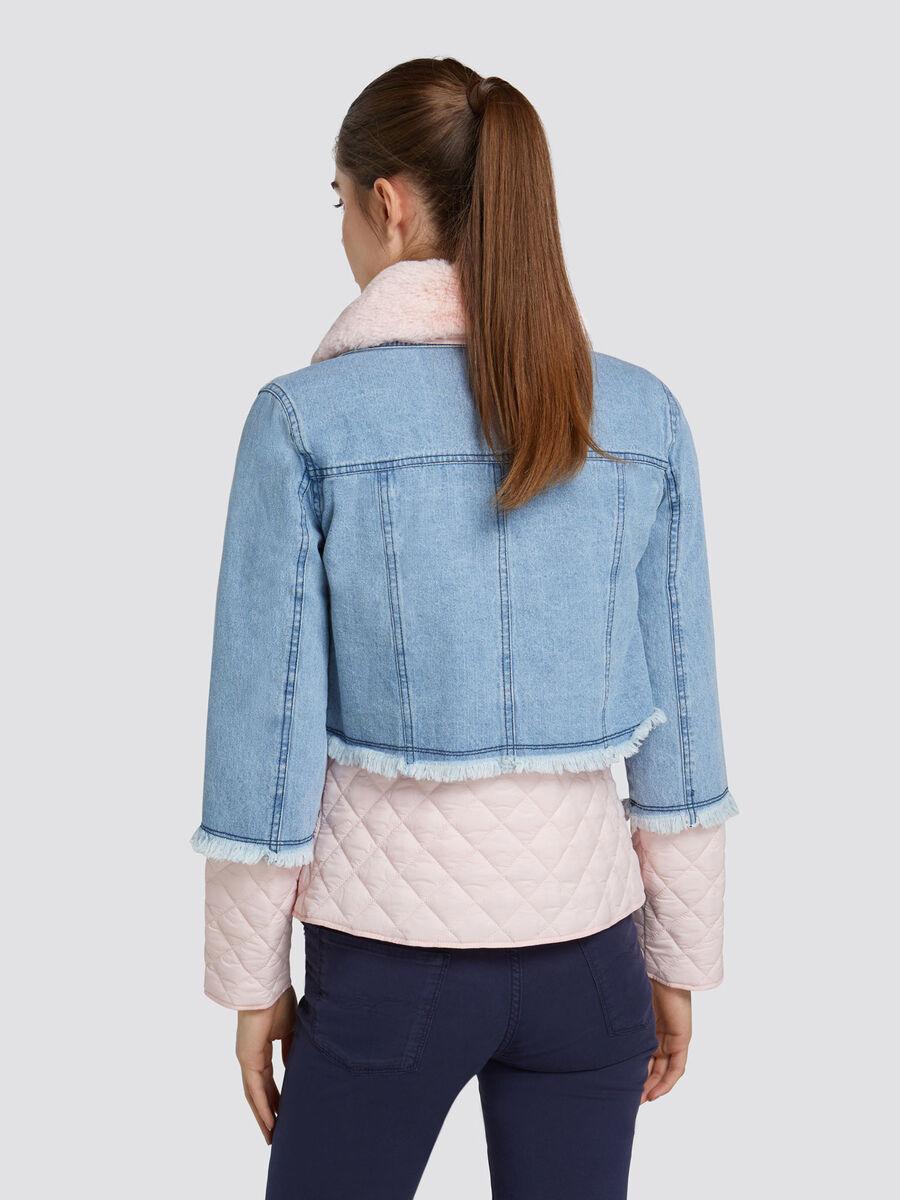 Regular fit 10oz denim jacket with faux fur detailing