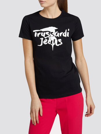 T Shirt im Regular Fit aus Baumwolljersey mit Logoprint