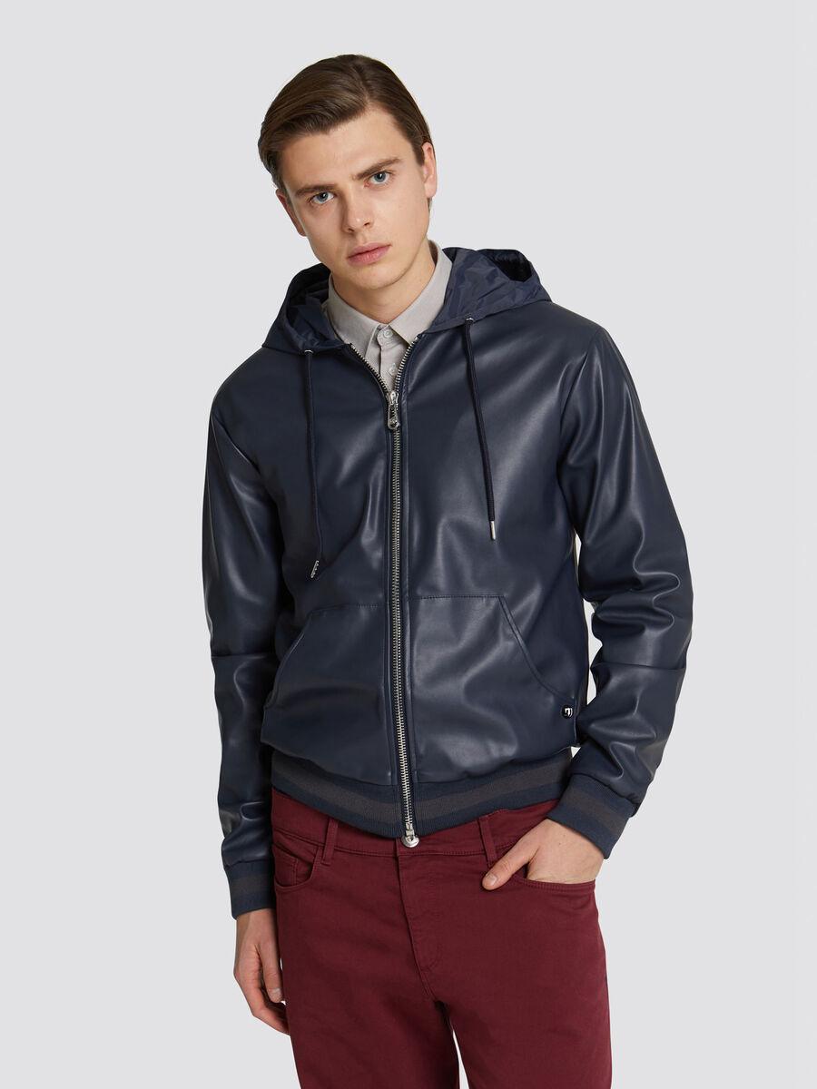 ed49e6cd8 Regular fit faux leather bomber jacket colourful hood