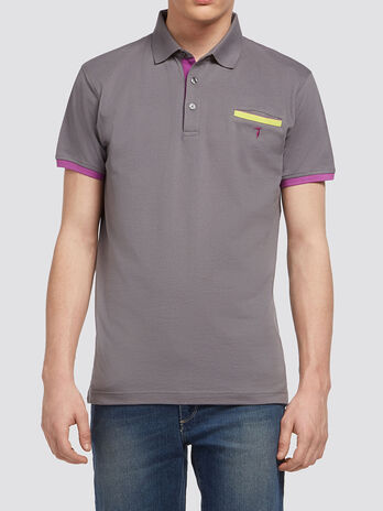 Pure cotton pique polo shirt with piping