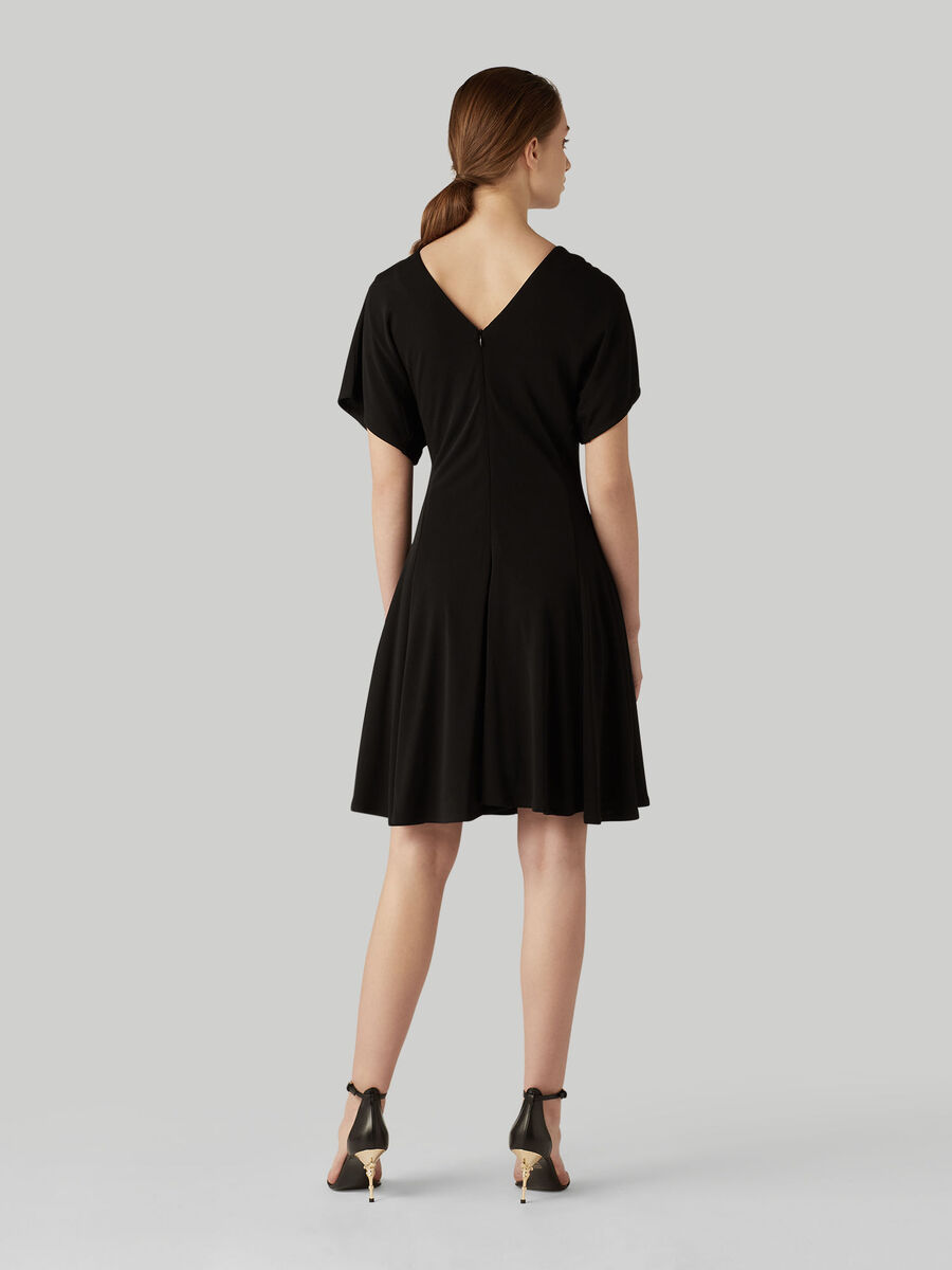 Crepe jersey midi dress with short sleeves