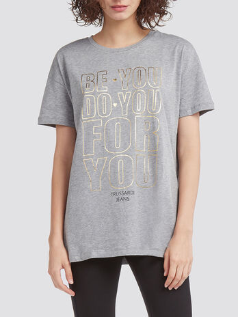 Pure cotton T shirt with shiny lettering print