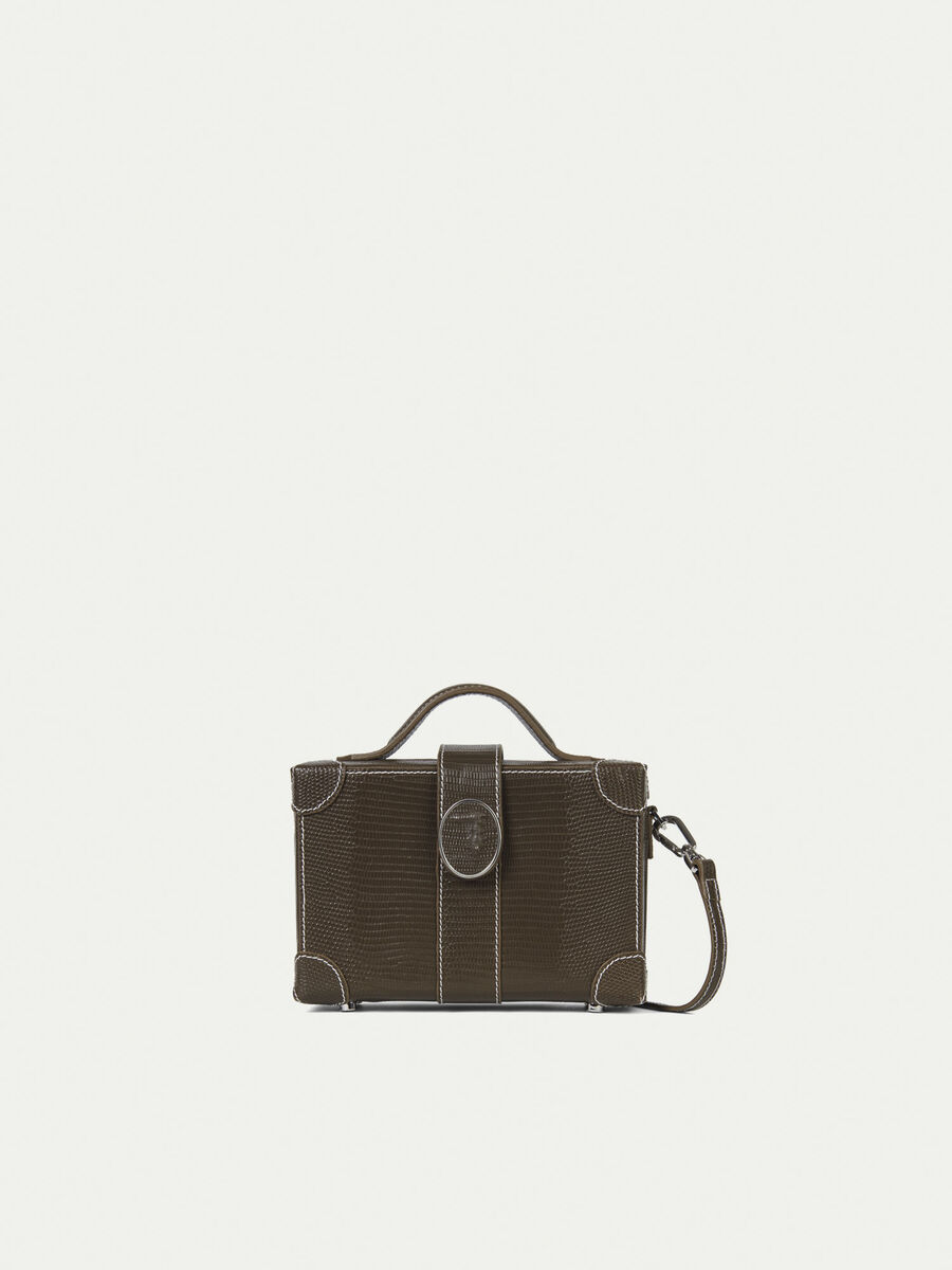 Box bag in lizard print leather