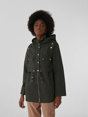 Cotton gabardine parka with hood