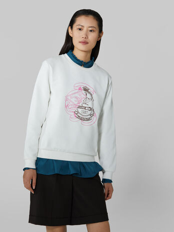 Cotton crew neck sweatshirt with two tone print