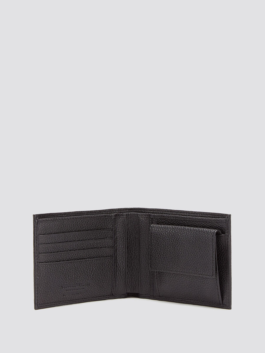 Large grain side opening wallet with logo