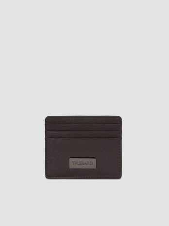 Faux saffiano leather card holder
