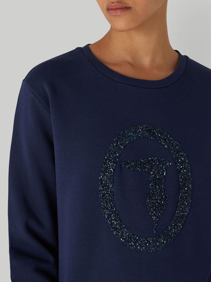 Sweat-shirt coupe classique a micro cristaux