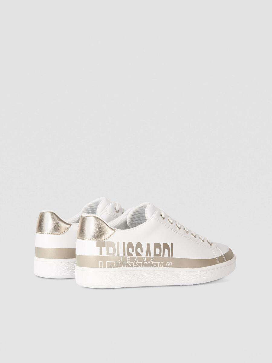 Colour block faux leather sneakers