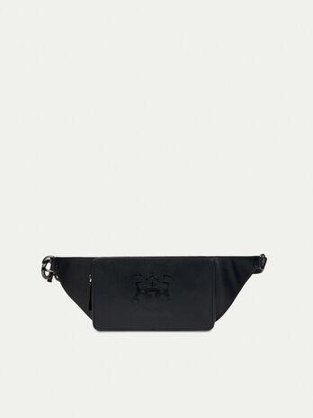 Leather belt bag with logo