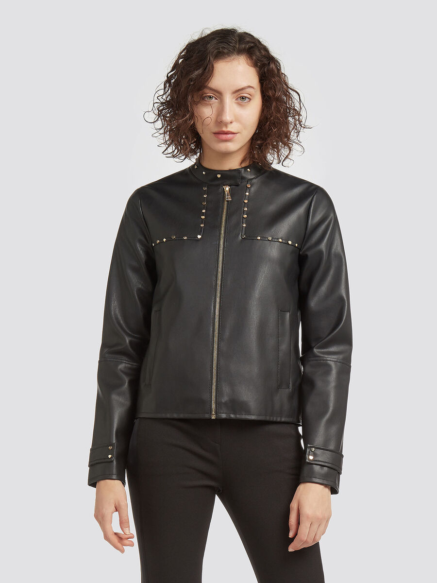 Regular fit jacket with studs