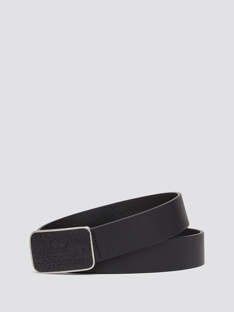 Leather belt with all over lettering buckle