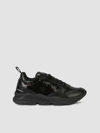 Sequinned leather Kiri running shoes