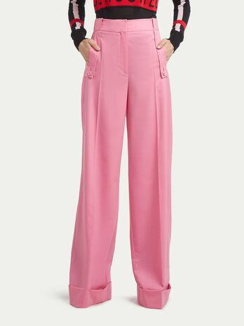 Wool twill palazzo trousers