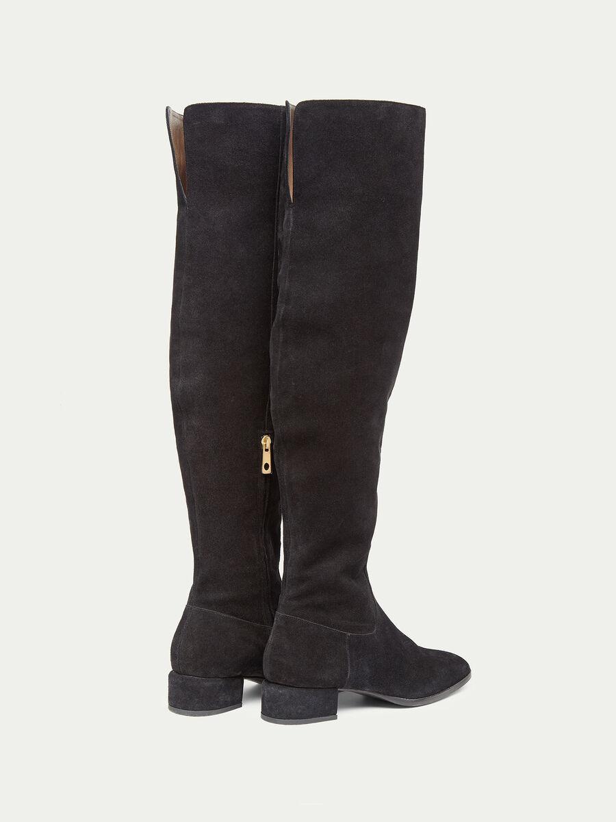 Stivali overknee in suede con tacco basso