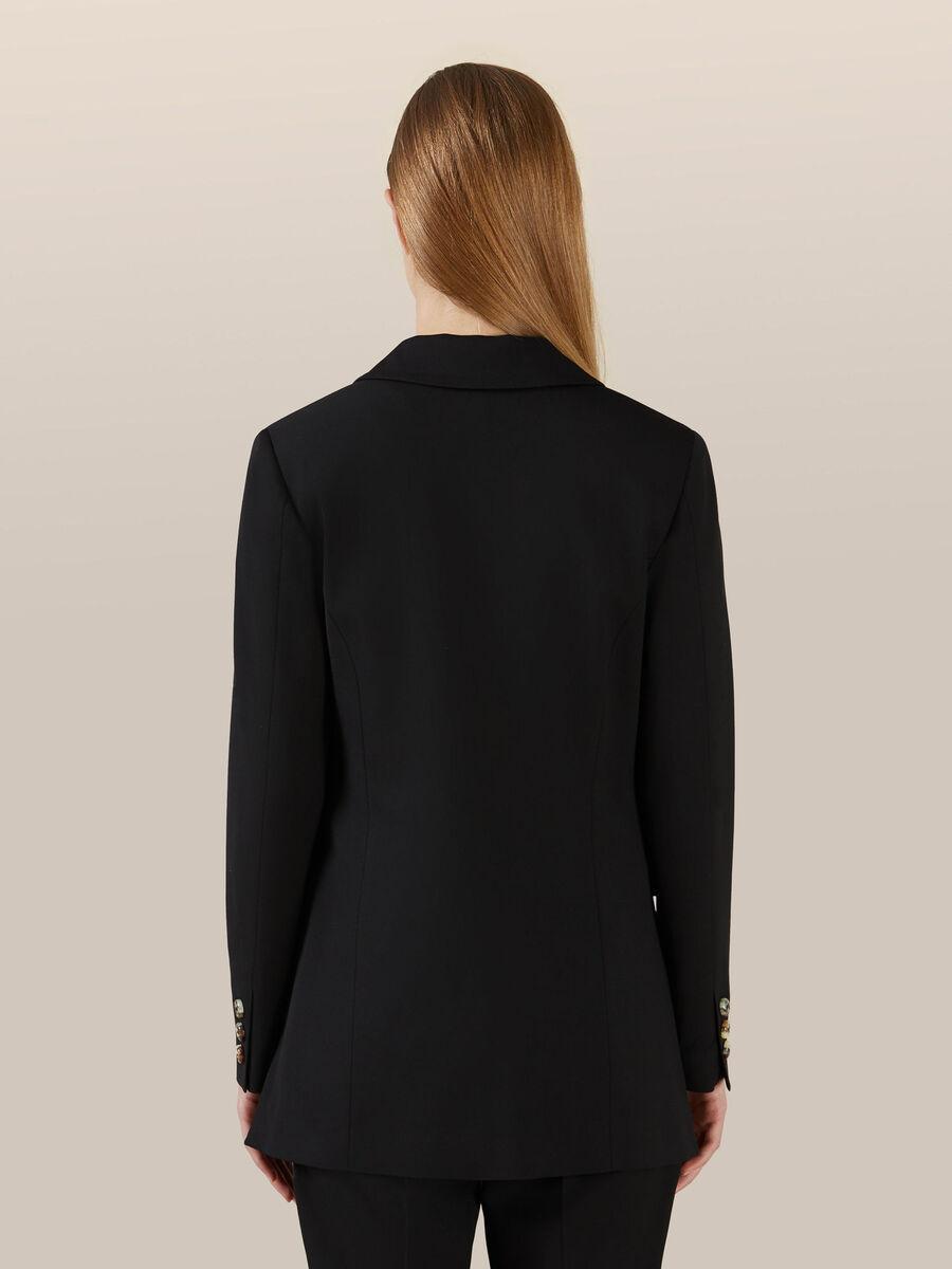 Wool blend stretch twill blazer