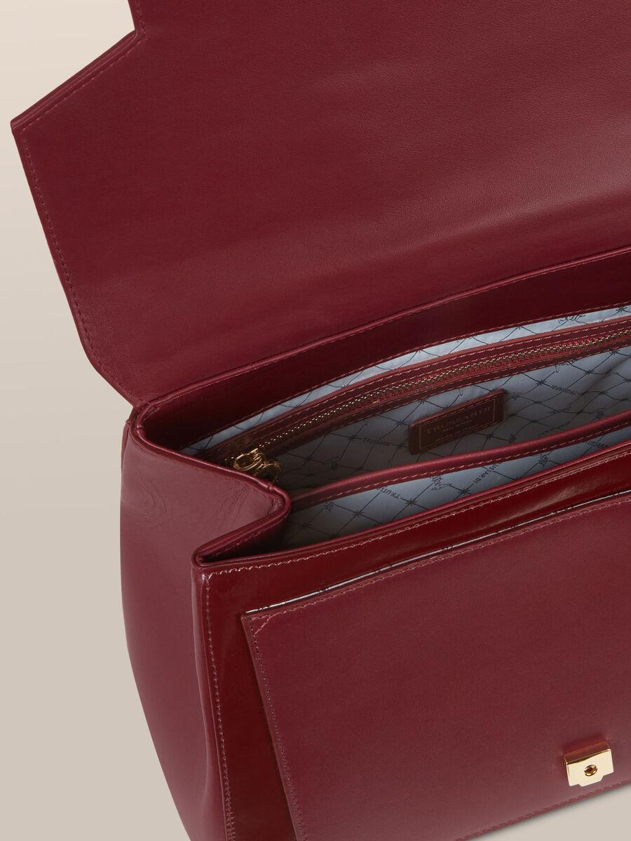 Borsa New Lovy regular in pelle abrasivata a specchio