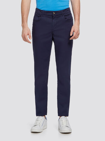 Stretch cotton solid colour trousers