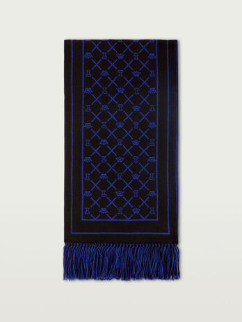 Knitted jacquard logo scarf