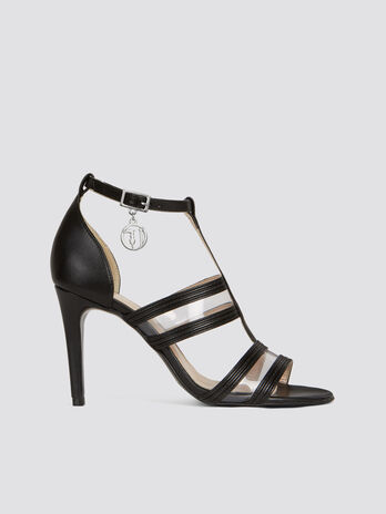 Faux leather high heeled sandals with plexiglas strips