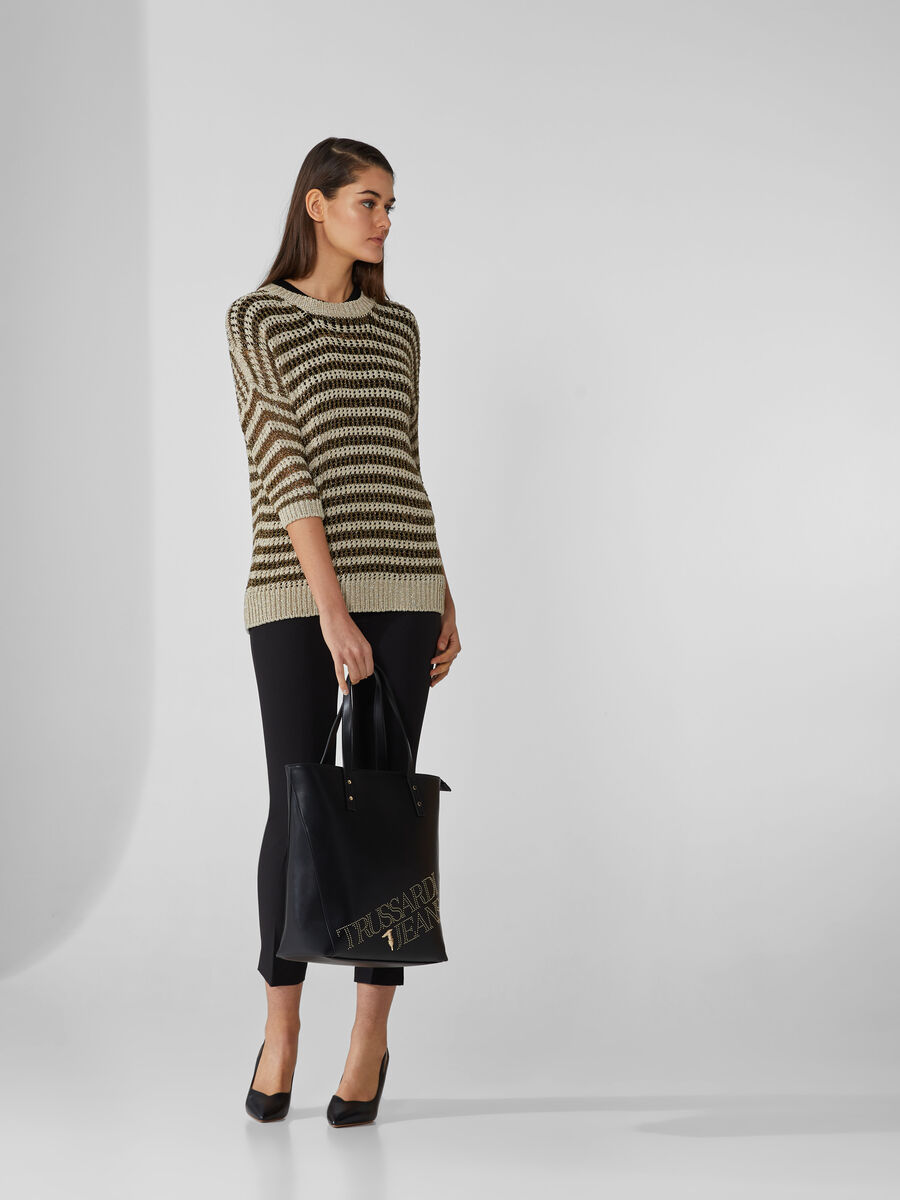 Perforated lurex jumper with stripes
