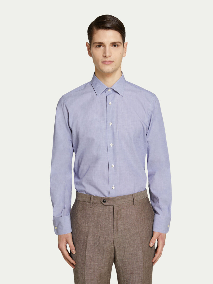 Cotton herringbone shirt with contrasting buttons