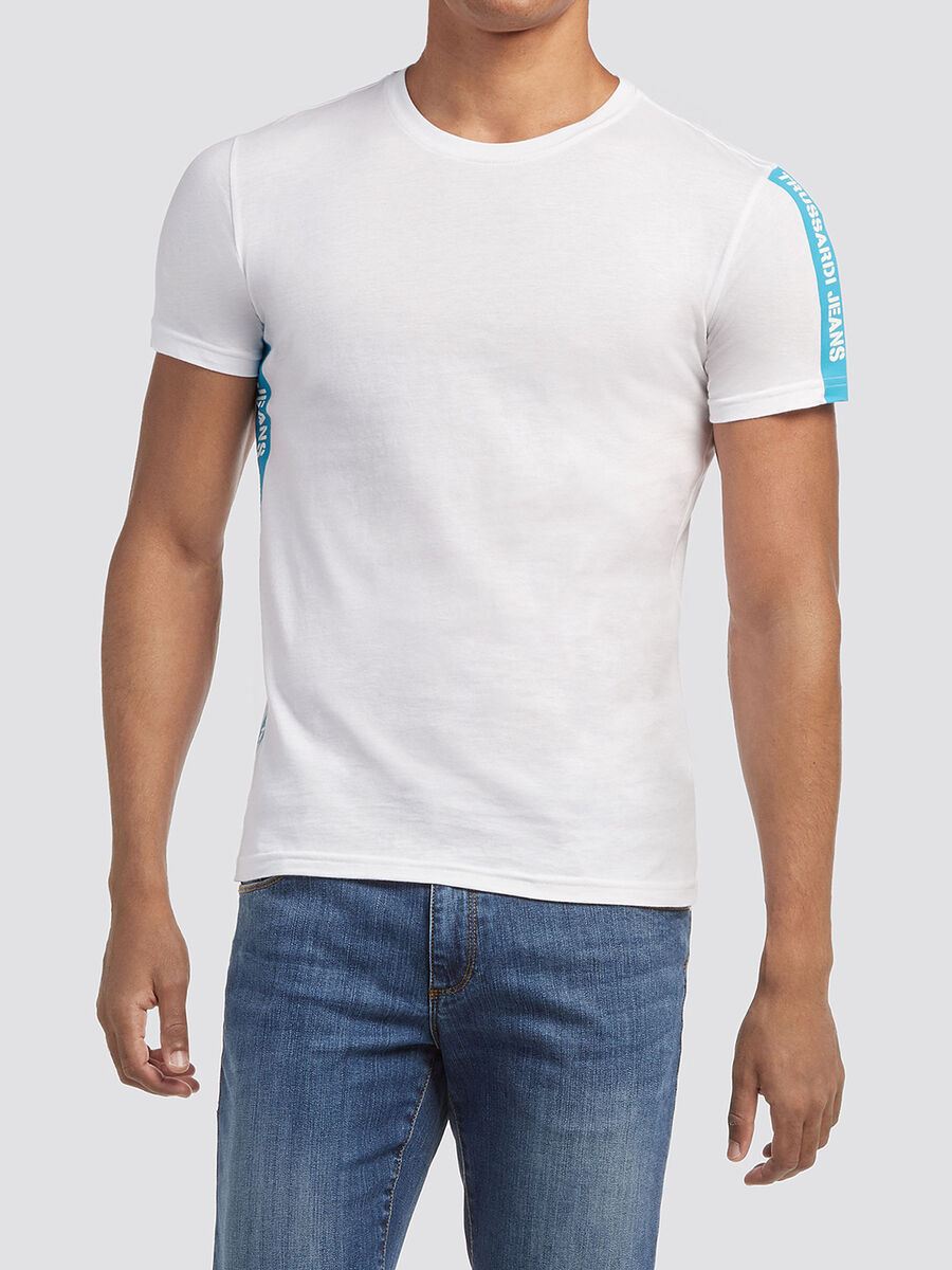 T shirt a bande imprimee lettering
