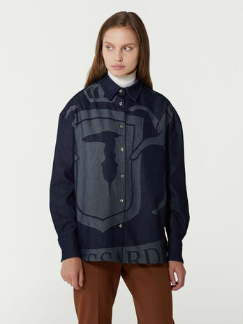 Oversized denim jacquard shirt