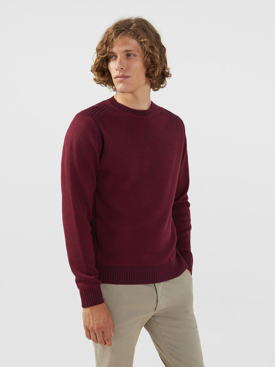 5882923b19 Crew neck up mouline pullover in a plaited wool blend | Trussardi ®